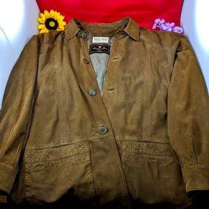 Vintage Guy Laroche Men Brown Suede Silk Coat L